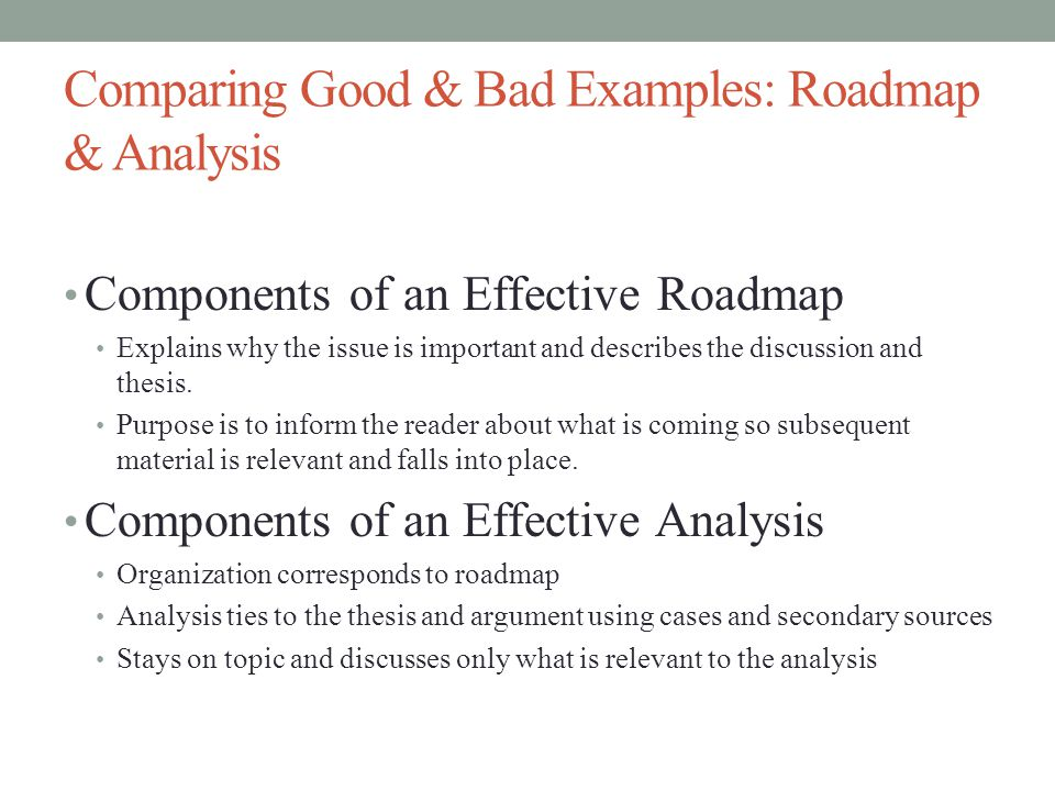 Comparing Good & Bad Examples: Roadmap & Analysis Components of an Effective Roadmap Explains why the issue is important and describes the discussion and thesis.
