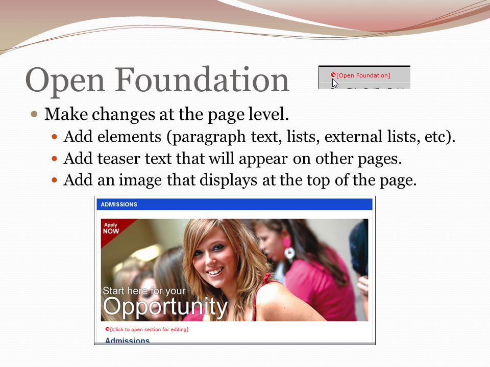 Open Foundation Make changes at the page level.