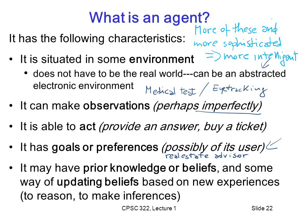 CPSC 322, Lecture 1Slide 22 What is an agent.