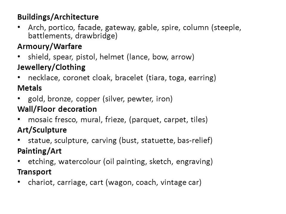 Buildings/Architecture Arch, portico, facade, gateway, gable, spire, column (steeple, battlements, drawbridge) Armoury/Warfare shield, spear, pistol,