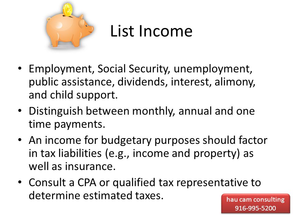 List Income Employment, Social Security, unemployment, public assistance, dividends, interest, alimony, and child support.