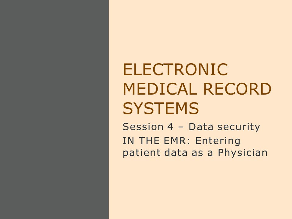 Session 4 – Data security IN THE EMR: Entering patient data as a Physician ELECTRONIC MEDICAL RECORD SYSTEMS