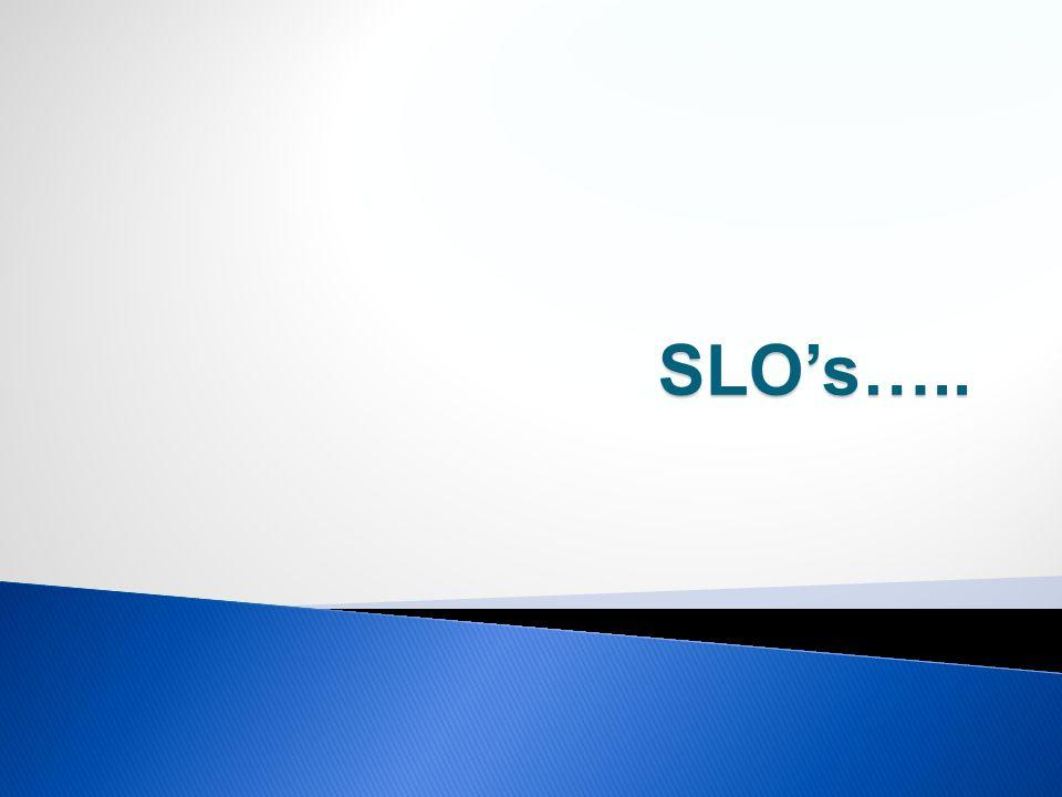 SLO's…..