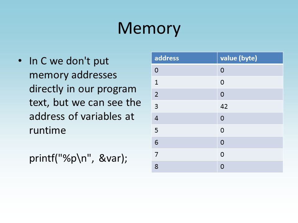 Memory In C we don t put memory addresses directly in our program text, but we can see the address of variables at runtime printf( %p\n , &var); addressvalue (byte) 00 10 20 342 40 50 60 70 80