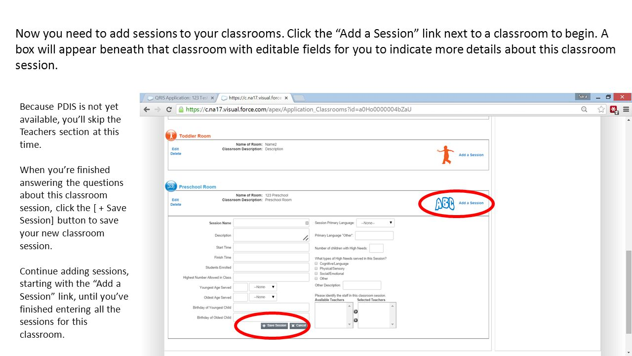 Now you need to add sessions to your classrooms.