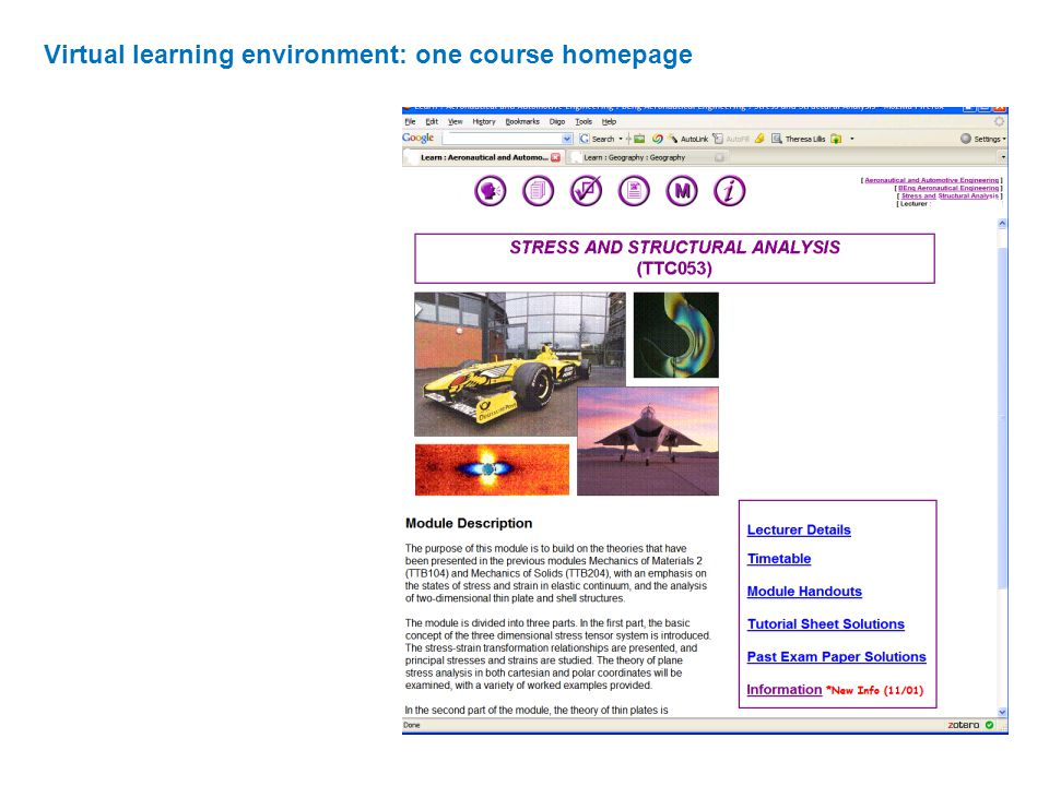 Virtual learning environment: one course homepage