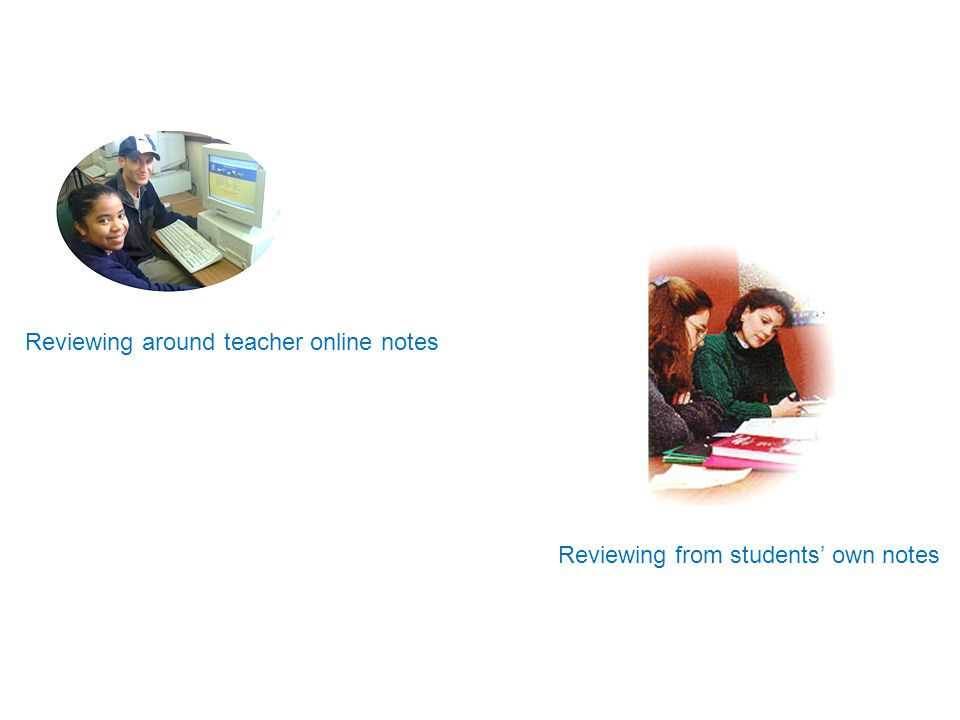 Reviewing around teacher online notes Reviewing from students' own notes