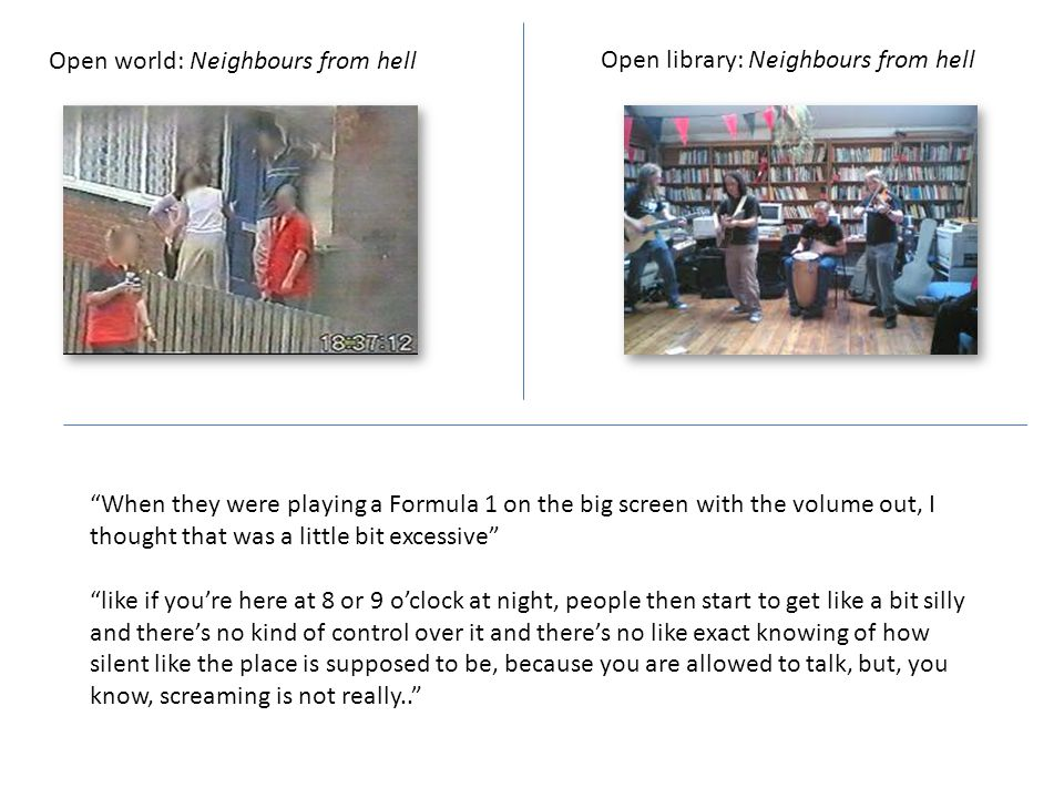 Open world: Neighbours from hell Open library: Neighbours from hell When they were playing a Formula 1 on the big screen with the volume out, I thought that was a little bit excessive like if you're here at 8 or 9 o'clock at night, people then start to get like a bit silly and there's no kind of control over it and there's no like exact knowing of how silent like the place is supposed to be, because you are allowed to talk, but, you know, screaming is not really..