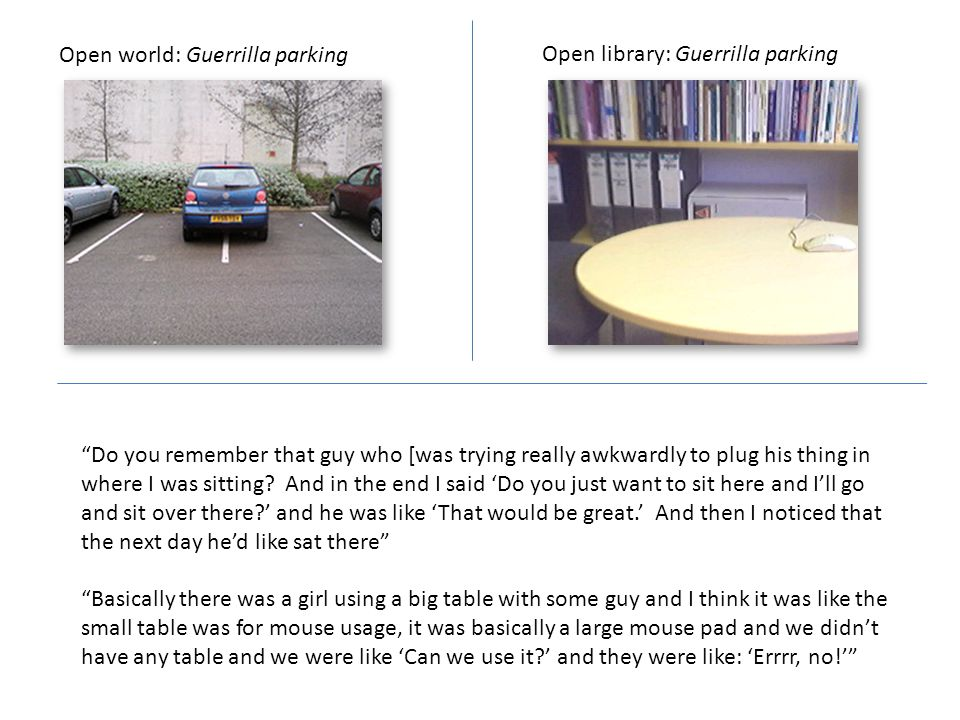 Open world: Guerrilla parking Open library: Guerrilla parking Do you remember that guy who [was trying really awkwardly to plug his thing in where I was sitting.