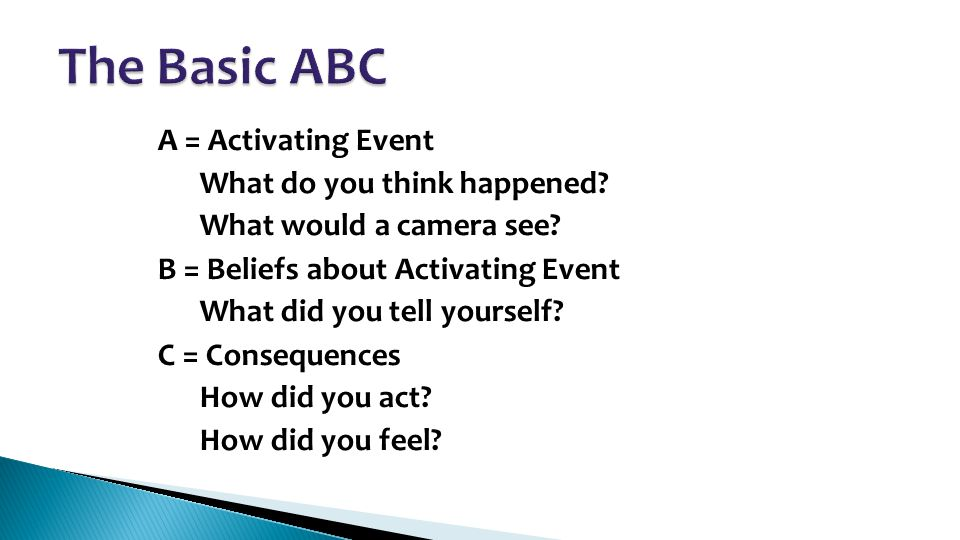 A = Activating Event – What do you think happened? – What would a camera see? B = Beliefs about Activating Event – What did you tell yourself? C = Con