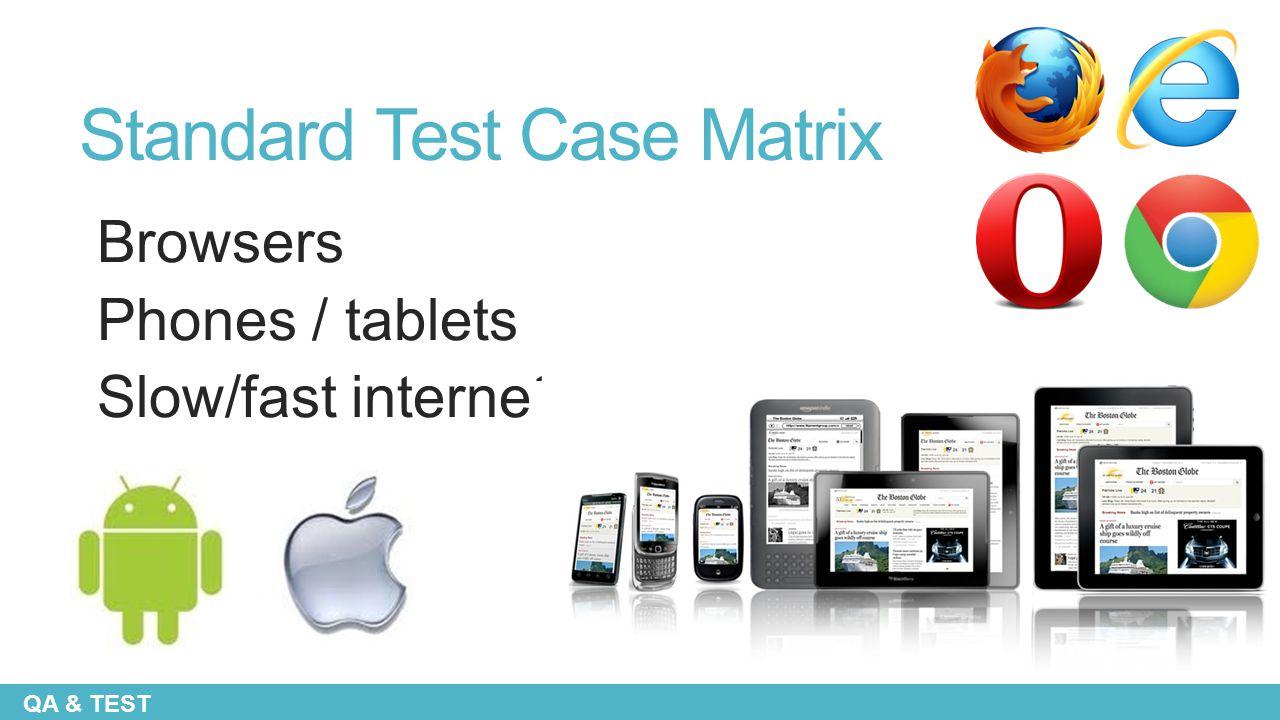 Standard Test Case Matrix Browsers Phones / tablets Slow/fast internet QA & TEST