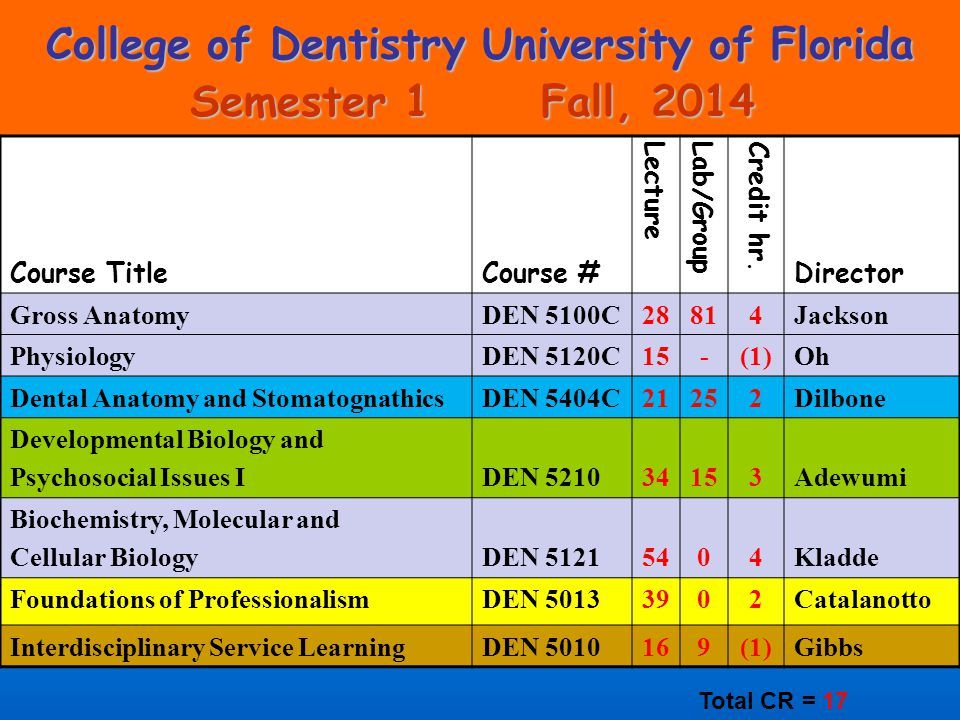College of Dentistry University of Florida Semester 1 Fall, 2014 Course TitleCourse # LectureLab/GroupCredit hr.