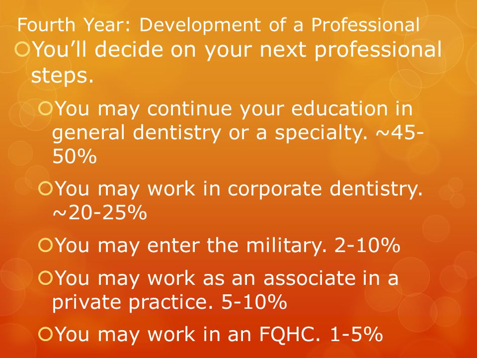 Fourth Year: Development of a Professional  You'll decide on your next professional steps.