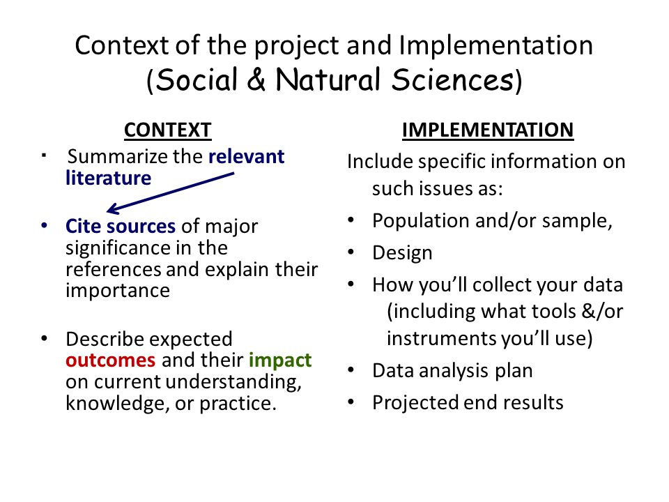 Context of the project and Implementation ( Social & Natural Sciences ) CONTEXT  Summarize the relevant literature Cite sources of major significance
