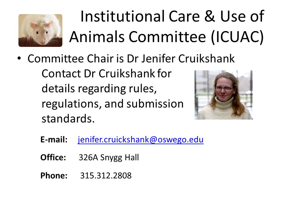 Institutional Care & Use of Animals Committee (ICUAC) Committee Chair is Dr Jenifer Cruikshank Contact Dr Cruikshank for details regarding rules, regu