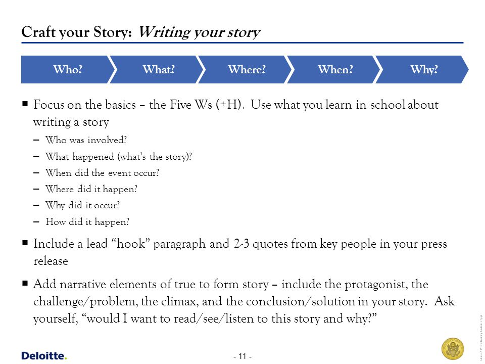 - 11 - Media & Press Training Module v2.ppt Craft your Story: Writing your story What Where When Who.