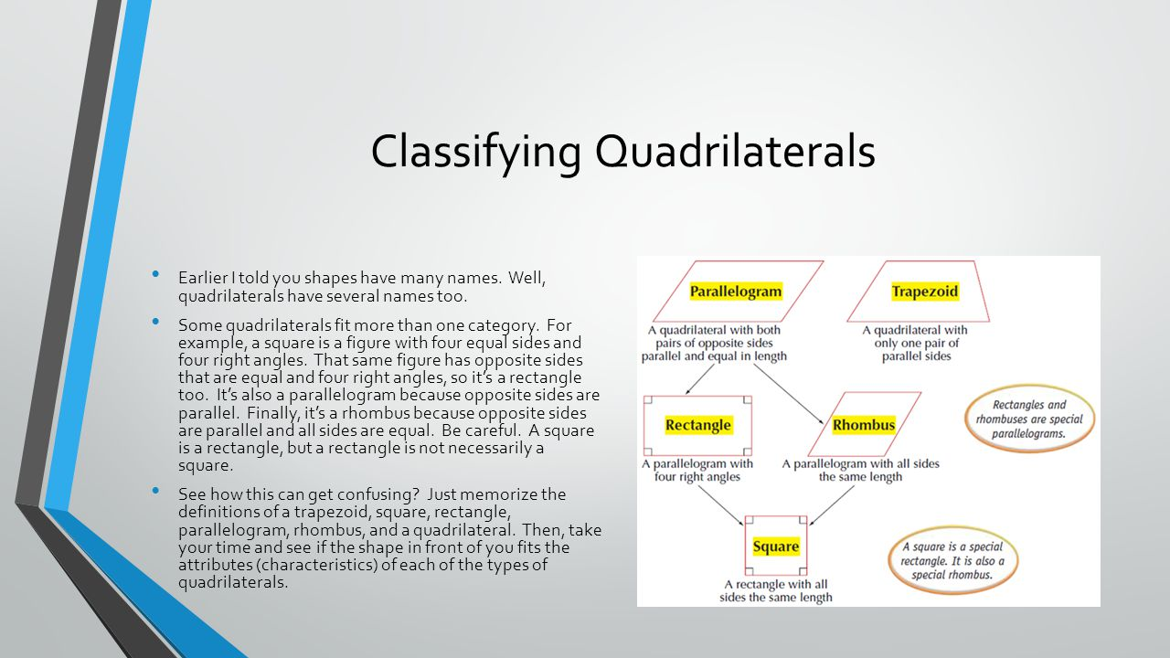 Classifying Quadrilaterals Earlier I told you shapes have many names. Well, quadrilaterals have several names too. Some quadrilaterals fit more than o