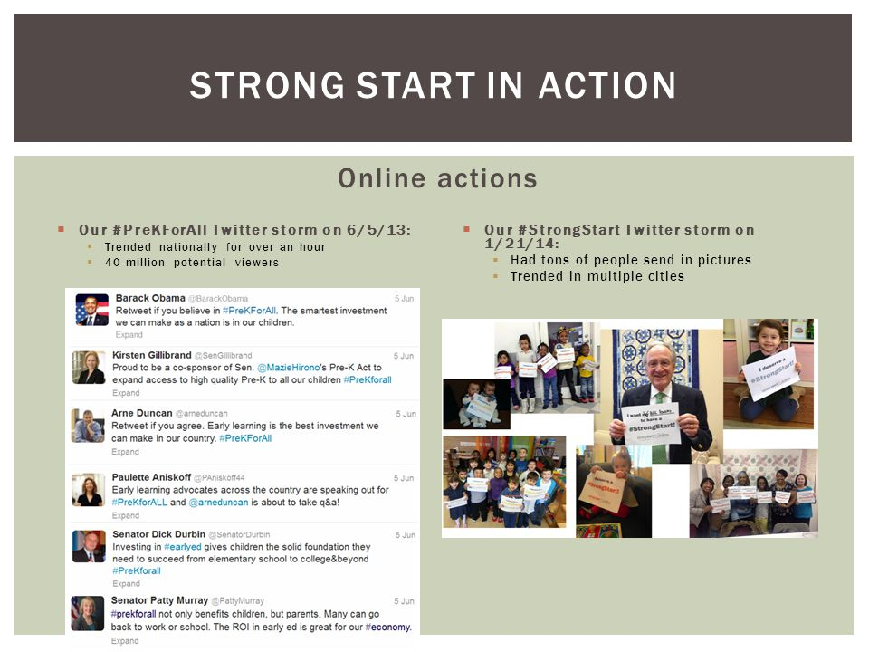Online actions  Our #PreKForAll Twitter storm on 6/5/13:  Trended nationally for over an hour  40 million potential viewers  Our #StrongStart Twit