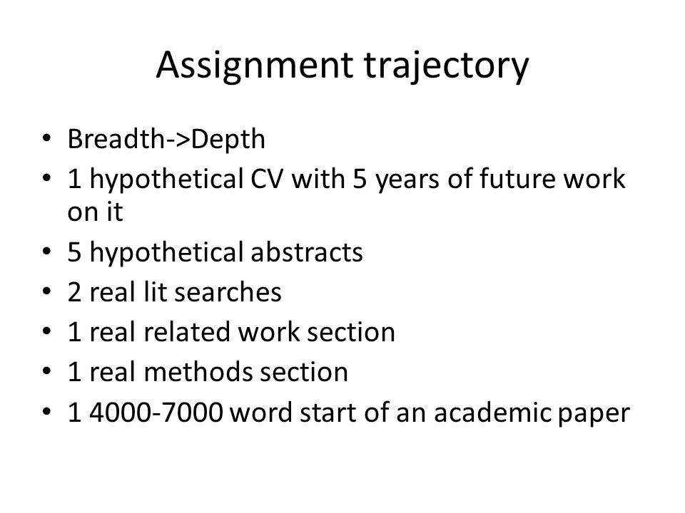 Assignment trajectory Breadth->Depth 1 hypothetical CV with 5 years of future work on it 5 hypothetical abstracts 2 real lit searches 1 real related w
