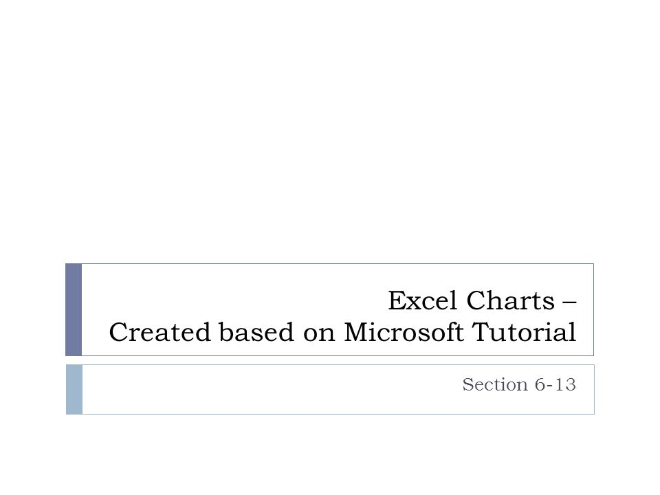 Excel Charts – Created based on Microsoft Tutorial Section 6-13