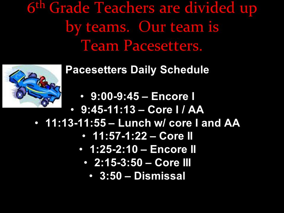 6 th Grade Teachers are divided up by teams. Our team is Team Pacesetters.