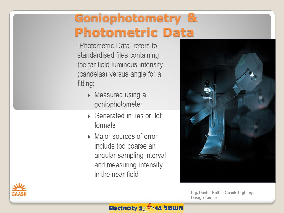 Goniophotometry & Photometric Data Photometric Data refers to standardised files containing the far-field luminous intensity (candelas) versus angle for a fitting:  Measured using a goniophotometer  Generated in.ies or.ldt formats  Major sources of error include too coarse an angular sampling interval and measuring intensity in the near-field Ing.