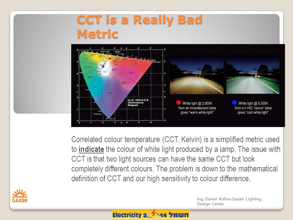 CCT is a Really Bad Metric Correlated colour temperature (CCT, Kelvin) is a simplified metric used to indicate the colour of white light produced by a lamp.
