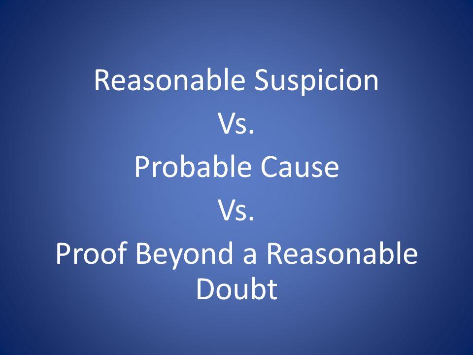 Reasonable Suspicion Vs. Probable Cause Vs. Proof Beyond a Reasonable Doubt