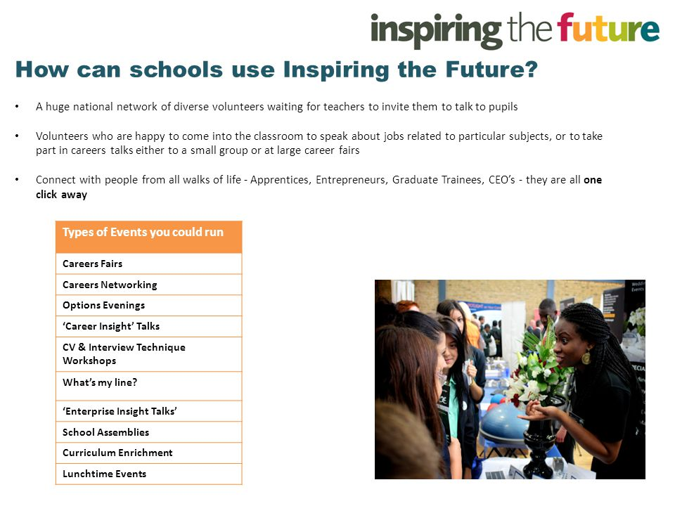 How can schools use Inspiring the Future.