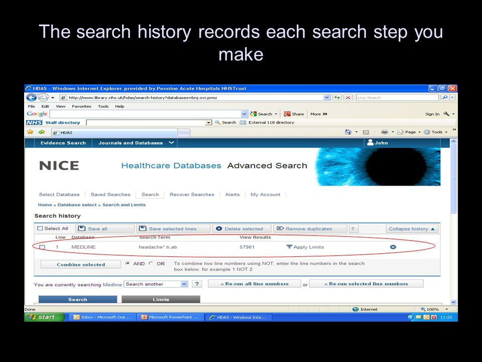 The search history records each search step you make