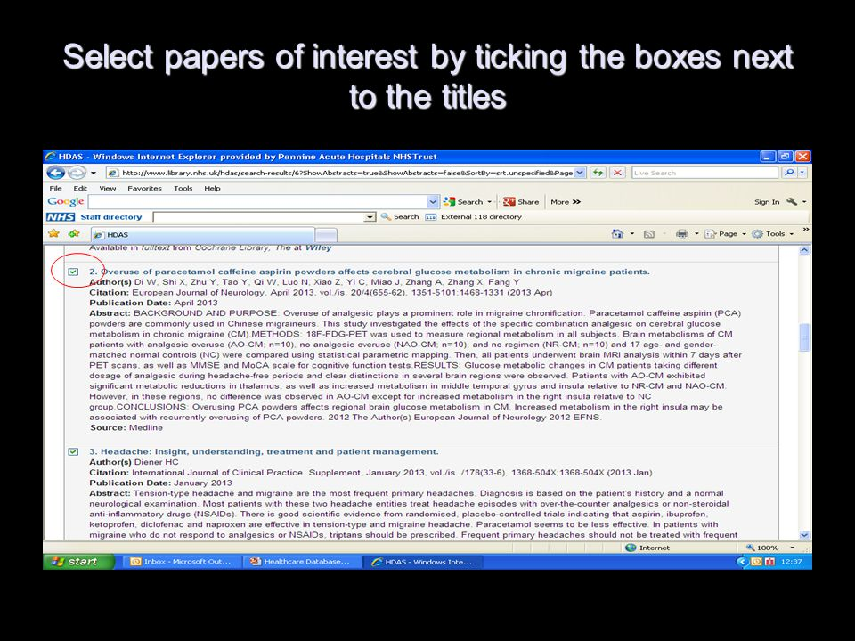 Select papers of interest by ticking the boxes next to the titles