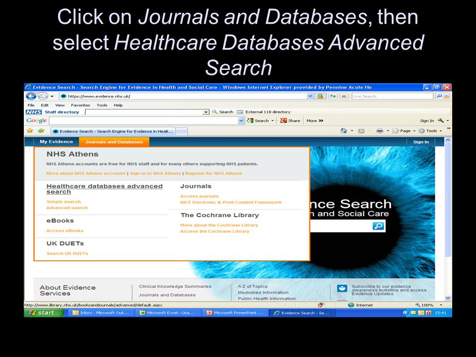 Click on Journals and Databases, then select Healthcare Databases Advanced Search