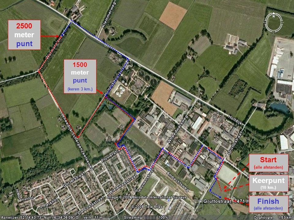 2500 meter punt 1500 meter punt (keren 3 km.) Start ( alle afstanden) Keerpunt (10 km.) Finish (alle afstanden)