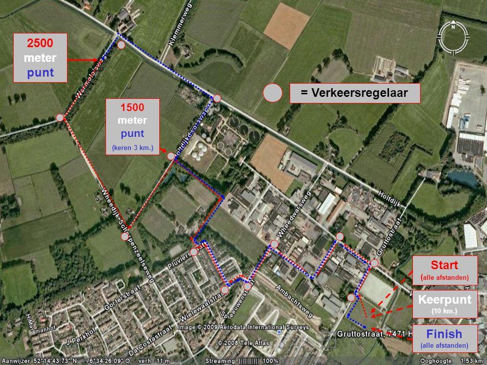 2500 meter punt 1500 meter punt (keren 3 km.) Start ( alle afstanden) Keerpunt (10 km.) Finish (alle afstanden) = Verkeersregelaar