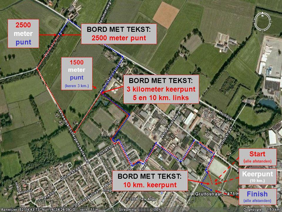 2500 meter punt 1500 meter punt (keren 3 km.) Start ( alle afstanden) Keerpunt (10 km.) Finish (alle afstanden) BORD MET TEKST: 3 kilometer keerpunt 5 en 10 km.