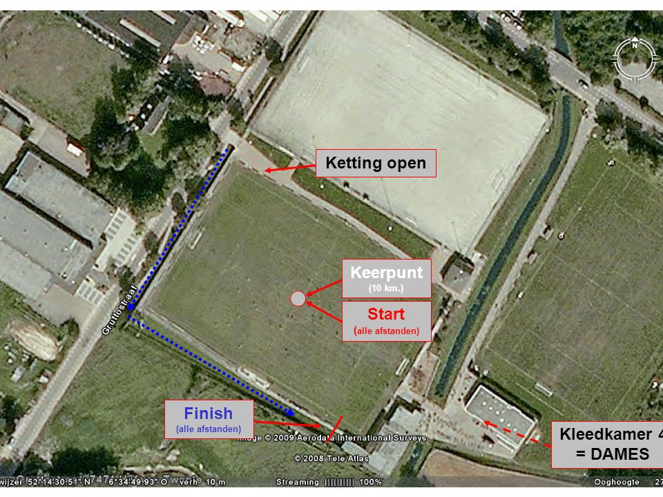 Ketting open Start ( alle afstanden) Keerpunt (10 km.) Finish (alle afstanden) Kleedkamer 4 = DAMES