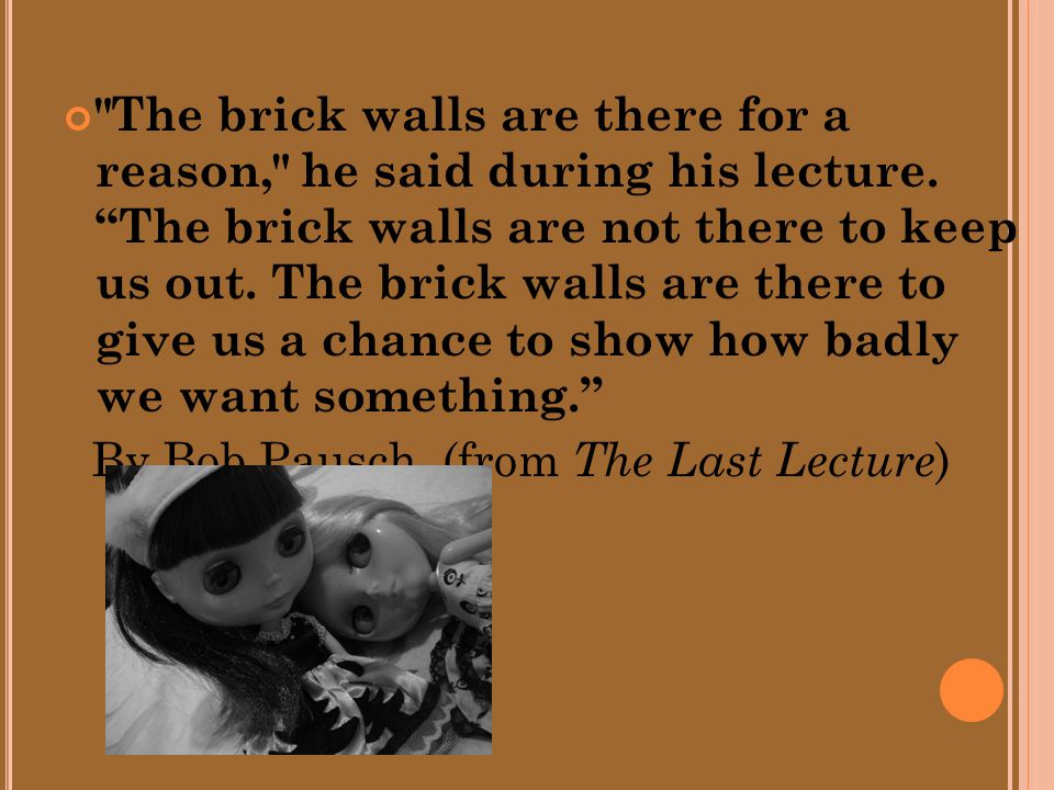 The brick walls are there for a reason, he said during his lecture.