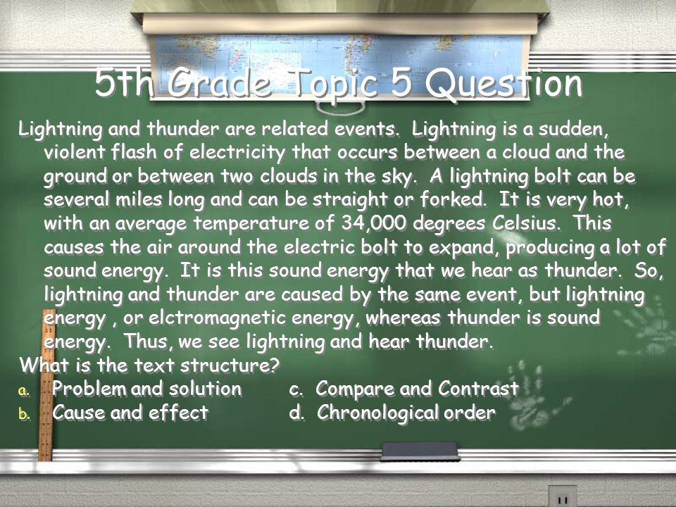 5th Grade Topic 4 Answer D.
