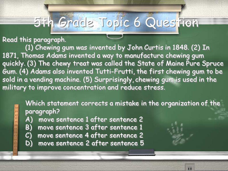 5th Grade Topic 5 Answer c. Compare and Contrast Return