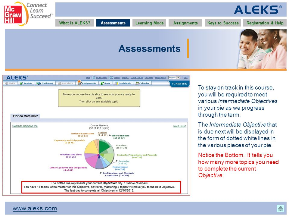 www.aleks.com What is ALEKS?AssessmentsAssignmentsLearning ModeRegistration & HelpKeys to Success Assessments To stay on track in this course, you wil