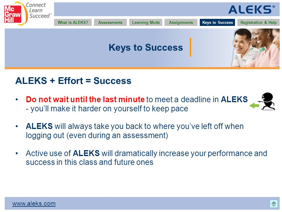 www.aleks.com What is ALEKS?AssessmentsAssignmentsLearning ModeRegistration & HelpKeys to Success ALEKS + Effort = Success Do not wait until the last minute to meet a deadline in ALEKS - you'll make it harder on yourself to keep pace ALEKS will always take you back to where you've left off when logging out (even during an assessment) Active use of ALEKS will dramatically increase your performance and success in this class and future ones