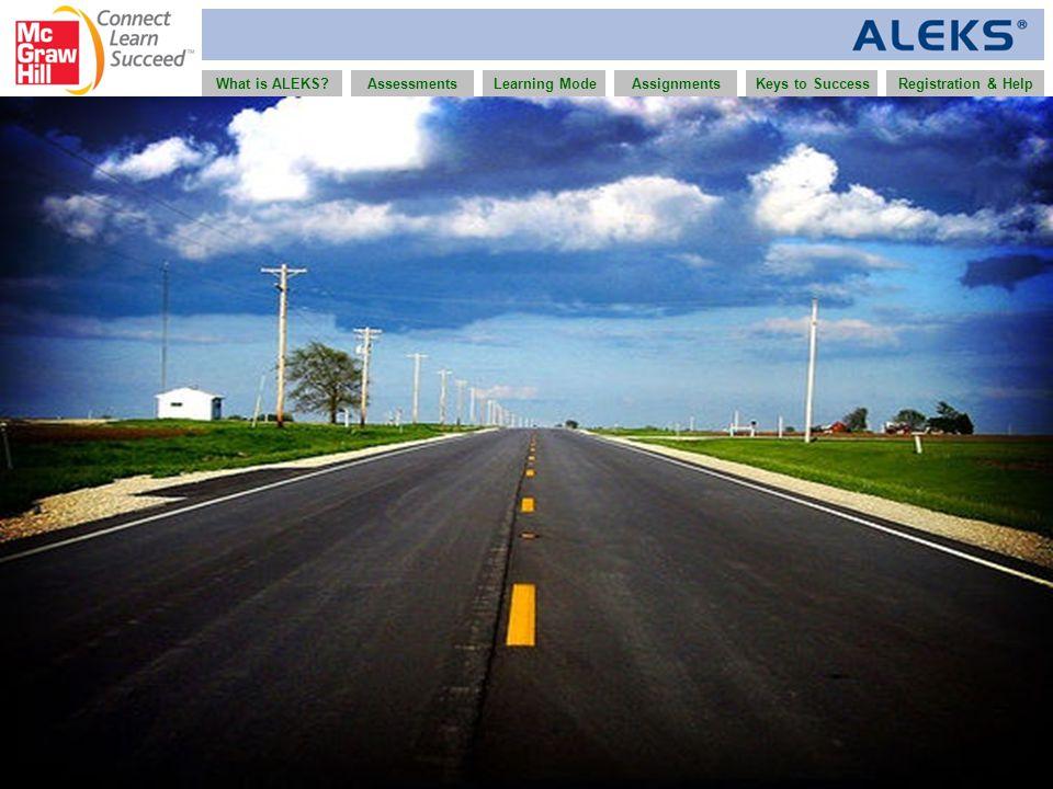 www.aleks.com What is ALEKS?AssessmentsAssignmentsLearning ModeRegistration & HelpKeys to Success