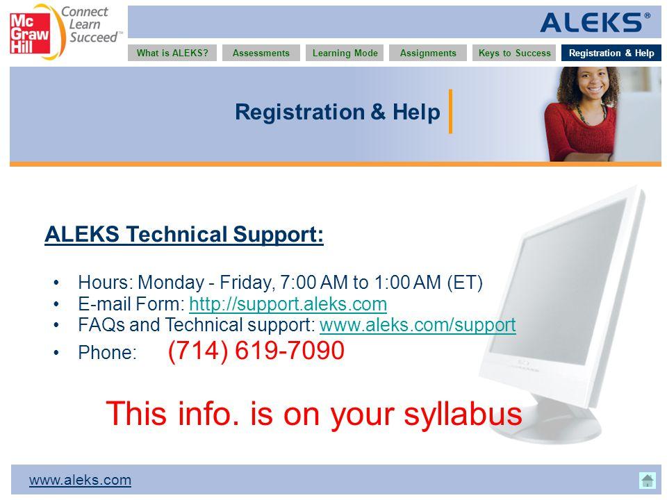 www.aleks.com What is ALEKS?AssessmentsAssignmentsLearning ModeRegistration & HelpKeys to Success Registration & Help ALEKS Technical Support: Hours: