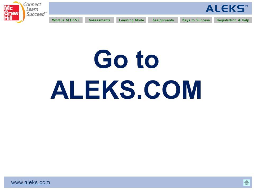 www.aleks.com What is ALEKS?AssessmentsAssignmentsLearning ModeRegistration & HelpKeys to Success Go to ALEKS.COM