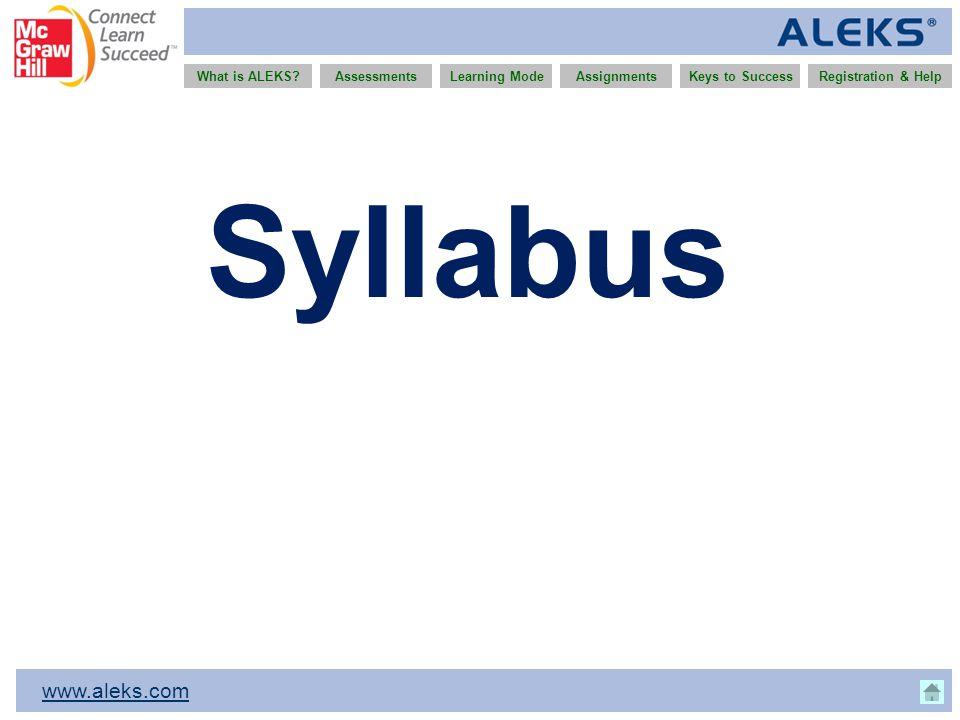 www.aleks.com What is ALEKS?AssessmentsAssignmentsLearning ModeRegistration & HelpKeys to Success Syllabus