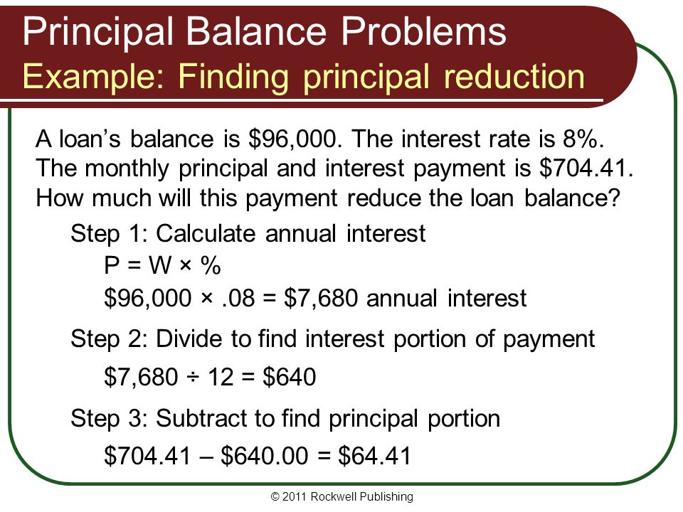 A loan's balance is $96,000. The interest rate is 8%. The monthly principal and interest payment is $704.41. How much will this payment reduce the loa