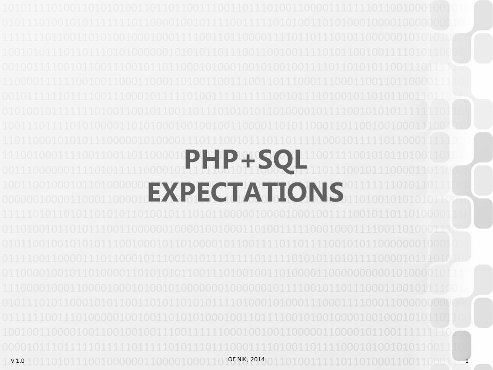 V 1.0 Schedule (Lessons) OE NIK, 2014 2 1Expectations, HTML Intro 2Control Structures 3Array, Strings, Calculators 4File management, Guestbook 5Session storage, Login 6Forum 7TEST 1 8PHP+SQL basic usage 9CRUD 1 10CRUD 2 (??.