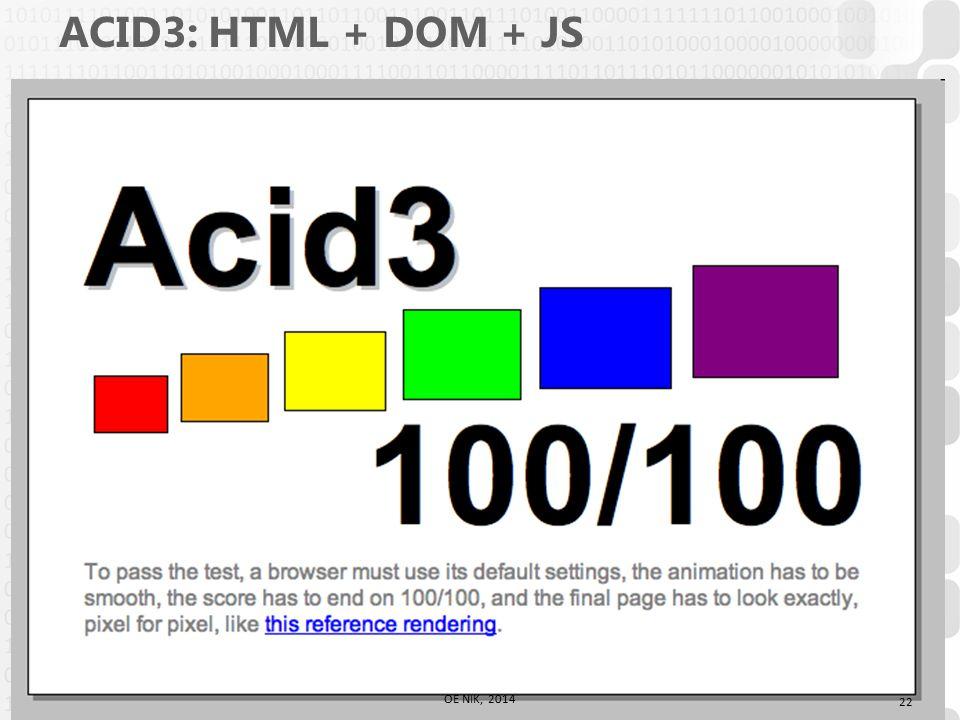 V 1.0 ACID3: HTML + DOM + JS 22 OE NIK, 2014