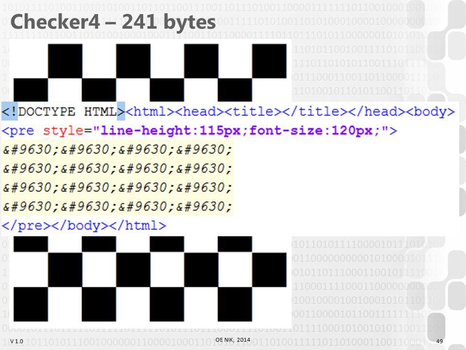 V 1.0 Checker4 – 241 bytes OE NIK, 2014 49