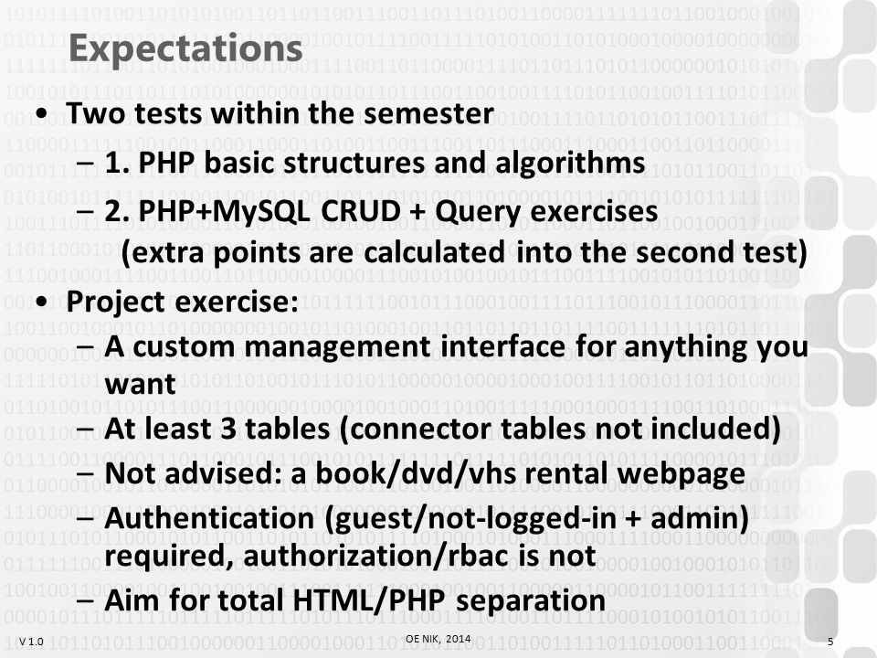 V 1.0 TABLES TagDescription Defines a table Defines a table header Defines a table row Defines a table cell Defines the attribute values for one or more columns in a table Defines a table head Defines a table body Defines a table footer 36 OE NIK, 2014